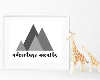 Adventure Awaits Printable Nursery Art, Mountain Art Print, Adventure Nursery Decor, Nursery Wall Art, Digital Art, Adventure Art Print
