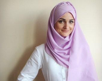 Stylish Turban Hijab, ready to wear hijab, chapel scarf, Scarf Handmade,  Pret A Porter Hijab, lilac hijab, Muslim fashion, Turban