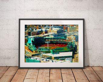 Fenway Park Print, Red Sox Painting, Boston Red Sox, Baseball Art, Green Monster Print, World Series Champions, Boston Baseball