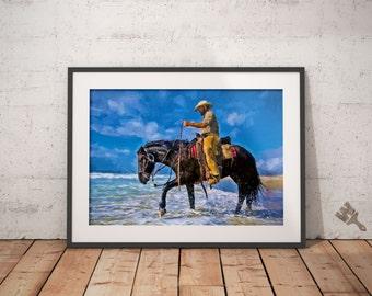 Cowboy at the Beach Print