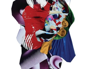 Art print from collaged fashion magazines and recycled materials