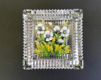 Vintage Hand Painted Crystal Glass Trinket Box~Square Ribbed Jewelry Holder~Knick Knack Box