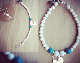 """Gemstone bracelet turquoise and white agate with 925 Silver Pendant charm """"baby carriage"""""""