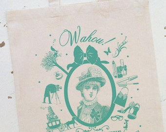 "TOTE BAG ""Super Temouine"" in green Mint!"