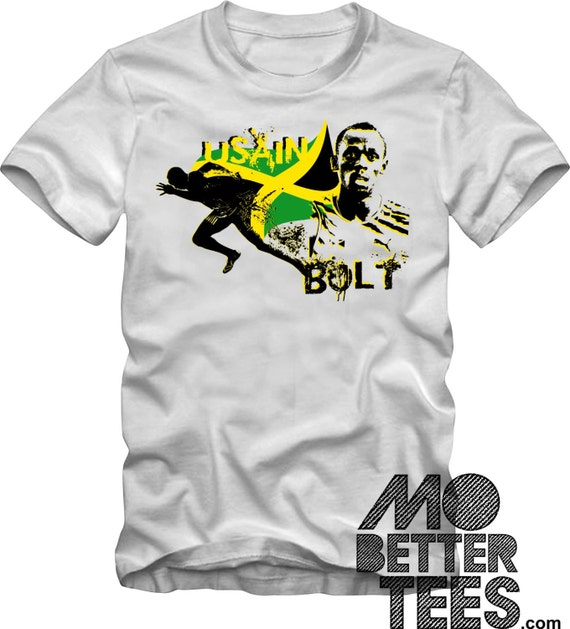 Usain Bolt Graphic Tee T-Shirt 2016 Olympic Games 3 times gold medalist Jamaica