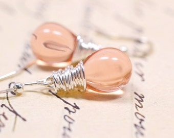 Soft Coral Teardrop Earrings, Peach and Silver Wire Wrapped Dangles, Peach Teardrop Briolette Drops