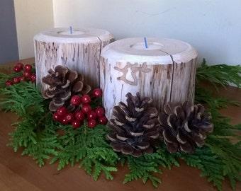 Rustic Wood Tea Light Candle Holders - Pair (cedar)