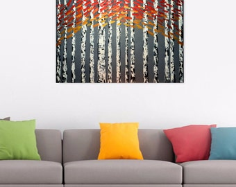 """Original Modern Abstract Tree Flower Silver White Orange Blossom Landscape Acrylic Painting, 36"""" x 24"""" by iVGallery"""