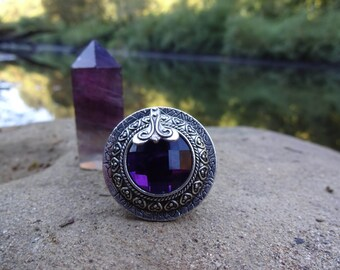 SALE | Bold Purple Gemstone Goddess Ring