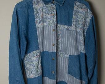 Denim Patchwork Long Sleeve Button Up (Medium)