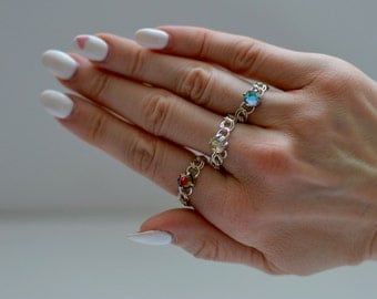 Swarovski crystal ring with silver plated band chose from Red, Blue and Pale Green (Eva Ring)