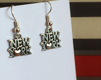 New York sterling silver earrings, dangle earrings, hand crafted big apple holiday earrings, gift for her