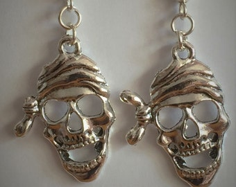 Gothic Earrings, spooky pirate skull earrings, handcrafted earrings, gift for her, sterling silver earrings