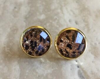 12mm Glitter Leopard Earrings- Cookie