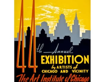 Chicago Art Institue Travel Poster - Vintage Travel Print Art - Home Decor - Chicago, Illinois 1940