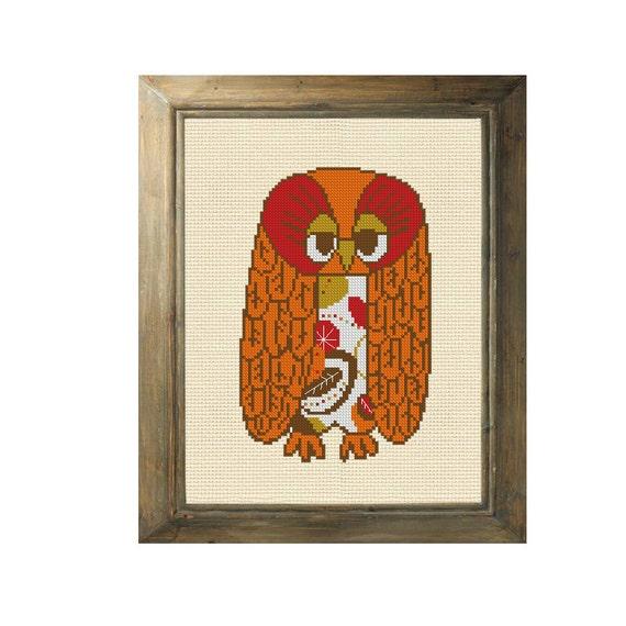 Owl cross stitch pattern vintage