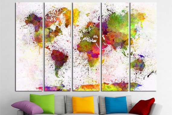 Large world map watercolor canvas set map canvas world map like this item gumiabroncs Gallery