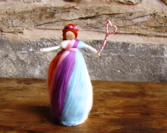 rainbow tree topper Christmas tree topper fairy 9 inch Waldorf tree topper Steiner tree top fairy nature table doll needle felted angel UK