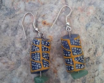 Green Aventurine Semi-Precious stone & Ghana Glass Beads