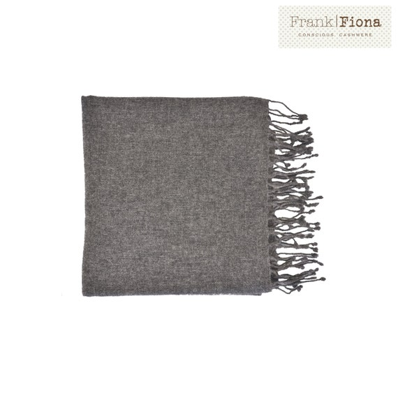 100% Pure Organic Cashmere Shawl, Grade A Mongolian Cashmere, Christmas present, 28 x 80 inches,Dark Gray,Eco Friendly Throw,Knitted wrap,3F