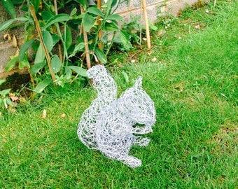 squirrel wire sculpture garden garden decor garden ornament metal garden sculpture - Metallic Garden Decor