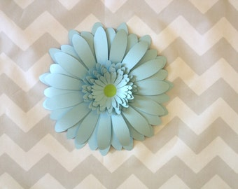 """Pastel Blue giant paper flower Gerbera Daisy baby shower decorations nursery wall decor photo backdrop 3 dimensional sculpture artistry 8"""""""