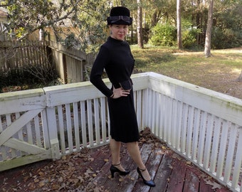 40's 1940's or 70's Does 40's Curve Hugging Black Long Sleeve Dress with Faux Pocket Flaps