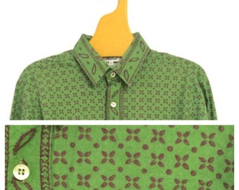 Mistral S M  Provencal Cowboy Cowgirl Shirt Olive Green French Vintage