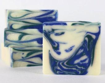 Rosemary Mint - Handmade Soap with aloe vera juice, mango butter, kokum butter, white kaolin clay, vegan, palm free