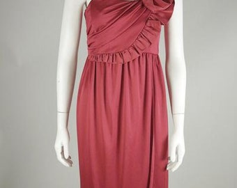 1970s Crimson Rosette Dress