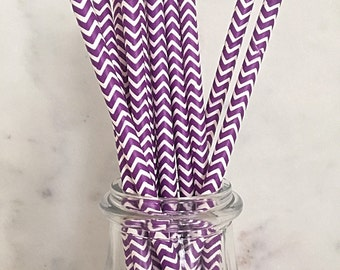 Purple and White Chevron Paper Straws (25)