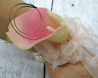 Pink calla lily wrist corsage, Wedding corsage, Prom corsage