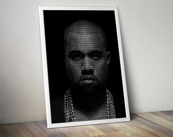 Kanye West Poster Music Song Lyric Typography  Word Art 5x7 8x10 12x16 18 x 24