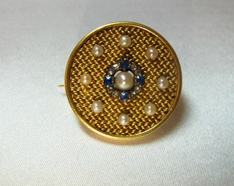 22K Yellow Gold Austro Hungarian Antique Brooch / Pin