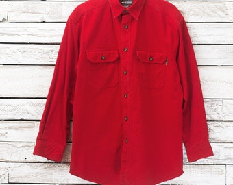 Vintage Woolrich shirt. Shirt red outdoor. Heavyweight shirt from outside. Large man