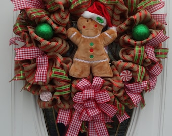 Gingerbread Burlap Front Door Wreath, Holiday Gingerbread Wreath, Gingerbread Door Decor, Holiday Door Decor, Burlap Decor Gingerbread Decor
