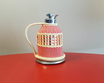 Funky Vintage Thermos Pitcher in Handmade Basket Weave Plastic, Red and Cream Pitcher OOAK, Picnic Pitcher, Insulated Pitcher
