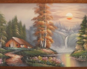 Bob Ross Style Landscape Oil Painting of Cabin in the Woods with Sunset Behind a Waterfall signed Henry