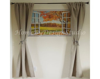 Pure Linen Curtains in Any Color/ Custom Size Curtain Panels/ Handmade Linen Curtains /Flat Top Rod Pocket/ Home Decor