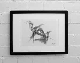Tyne Bridge Print, Newcastle Upon Tyne Print, Bridges, Wall Art Print, Illustration Print, Abstract, Newcastle Skyline Print, Drawing Print