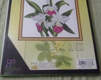 Stunning Oriental flower spray Counted cross stitch kit