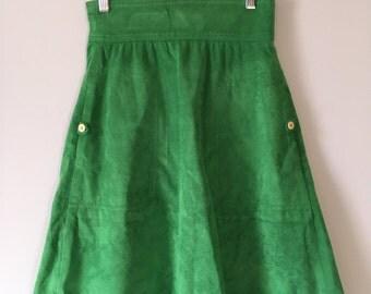 1970s Vintage Green Ultrasuede Aline Midi Skirt by Samuel Robert