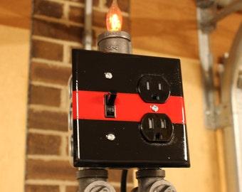 Pipe lamp, Lamp, Black Pipe Lamp, Receptacle lamp, Flicker Flame Lamp, Firefighter Lamp, Thin Red Line, Fireman, Fireman Lamp, - Firefighter