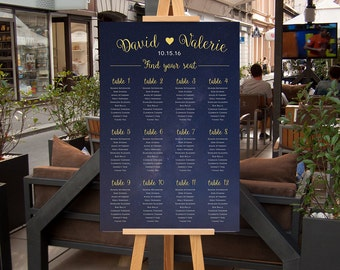 Wedding Seating Chart Sign, Wedding Seating Poster, Guest List Seat Chart, Navy Blue and Gold starry night CUSTOM DIGITAL Printable 20x30