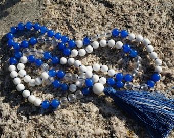 Sri Lanka Sapphire,Rock Crystal,Alabaster Guru,silk,handmade silk tassel,108 bead Mala