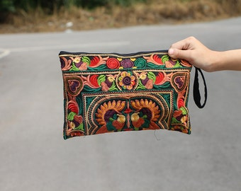 Women Fashion Orange Clutch With Embroidered Fabric