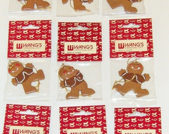 "LOT of NINE 2.5"" GINGERBREAD_MAN Ornaments With Gold-cord Hangers * Craft-projects Fall-decor Christmas-trees Party-""favors"""