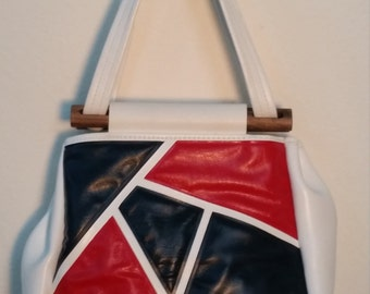 60s Mod Vinyl Handbag. Red, White and Blue Graphic Purse. Retro.