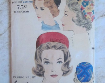 Designer Sally Victor Vogue 5352 Pill Box Hat Pattern 1960s
