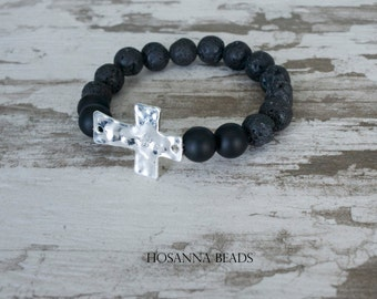 Lava and Onyx Stone Cross Hosanna Bead Bracelet